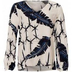 Long Islang - Bluse, med fjer mønster