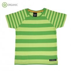 Villervalla - T-shirt med striber, grøn