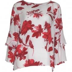 House of Soul - Rødmønstret bluse med flagreærmer